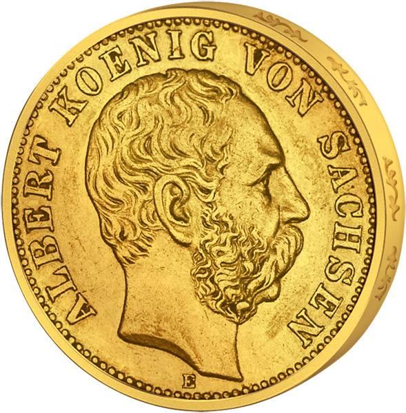 10 Mark Sachsen Albert I. großer Reichsadler 1891-1902 Sehr schön