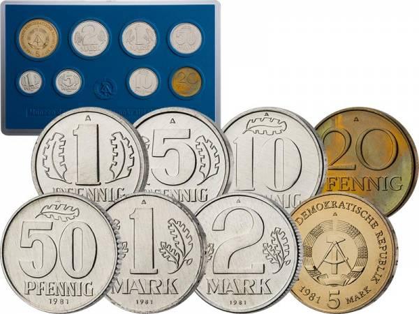 1 Pfennig - 5 Mark Kursmünzensatz DDR 1981