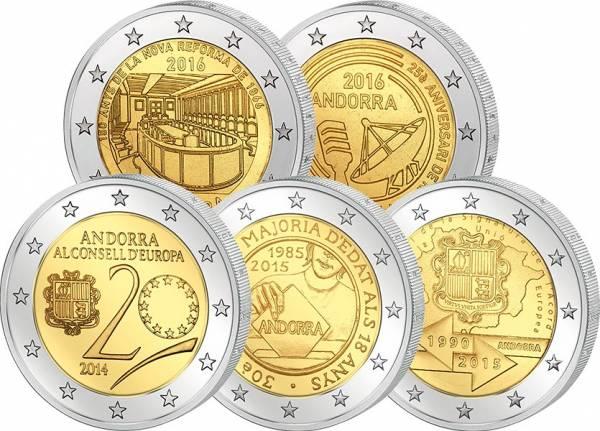 5 x 2 Euro Andorra Spar-Set 2014-2016