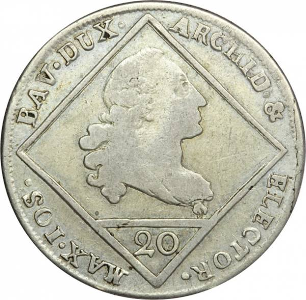 20 Kreuzer Bayern Kurfürst Maximilian III. Joseph 1770-1776