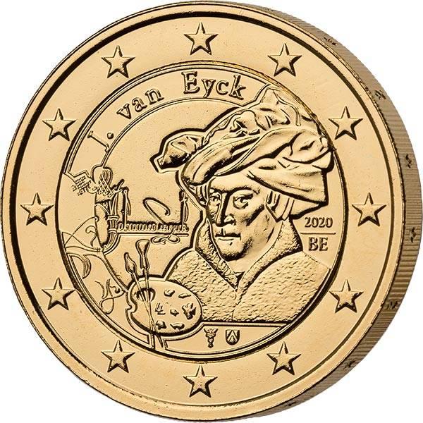 2 Euro Belgien Jan van Eyck 2020 vollvergoldet