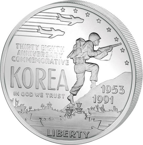 1 Dollar USA Koreakrieg 1991 Polierte Platte