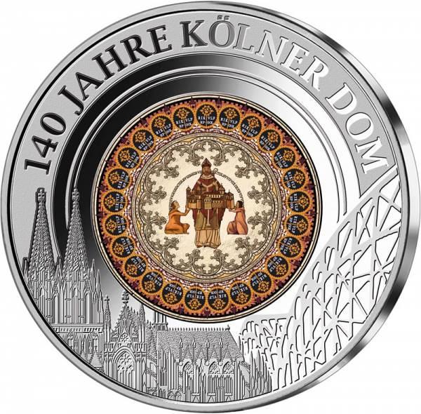Gedenkprägung 140 Jahre Kölner Dom mit Glasinlay