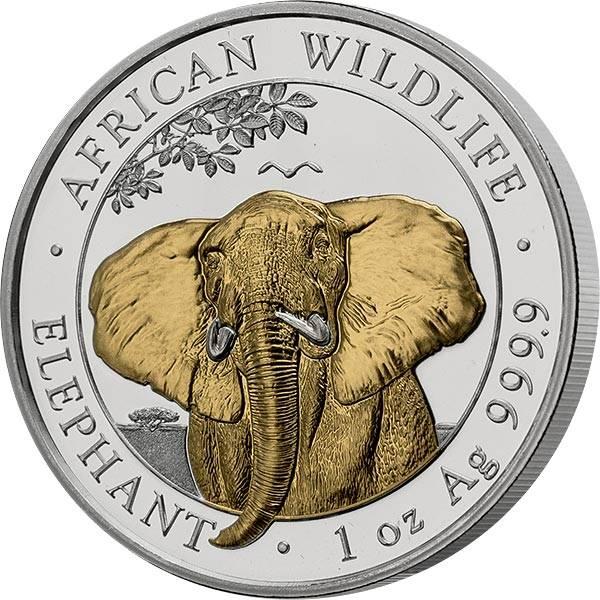 100 Shillings Somalia Elefant 2021 mit Gold-Applikation