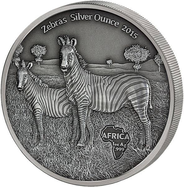 1.000 Francs Kongo Zebras 2015   Antik-Finish