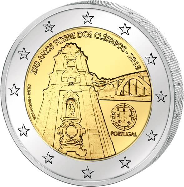 2 Euro Portugal 250 Jahre Glockenturm Clérigos 2013 prägefrisch