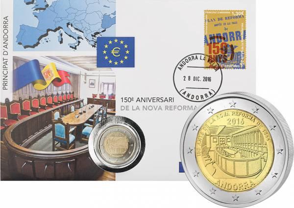 2 Euro Numisbrief Andorra 150. Jahrestag der Neuen Reform von 1866 2016