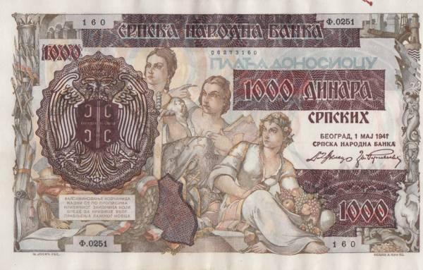 1000 Dinar Serbien Deutsche Besatzung 1941