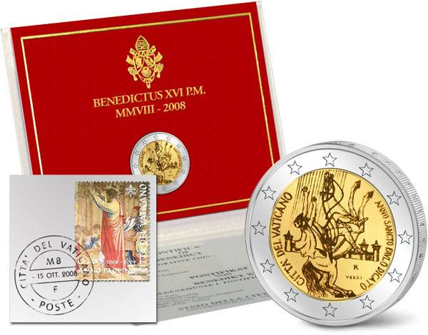 2-Euro-Gedenkmünze Vatikan als Ersttags-Edition 2008 Stempelglanz