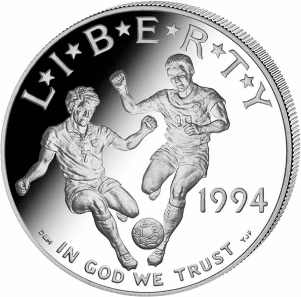 1 Dollar USA Fußball WM 1994 Polierte Platte (PP)