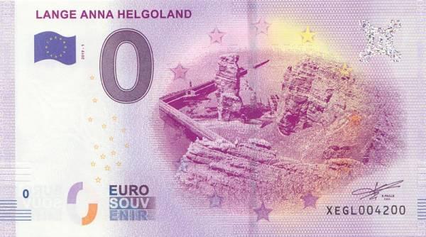0-Euro-Banknote Lange Anna Helgoland 2019