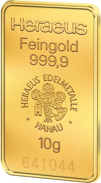 10 Gramm Goldbarren Heraeus Stempelglanz (st)