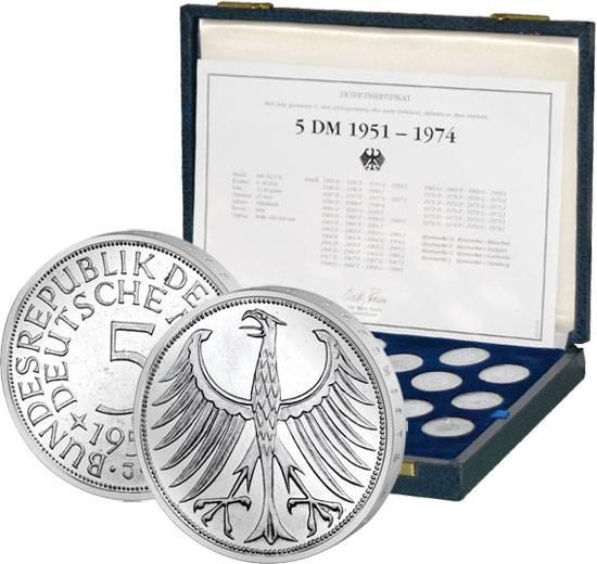 5 DM BRD Silberadler Jahrgangskollektion ohne 1958 1951-1974 Sehr schön