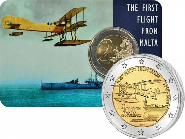 2 Euro Malta 100 Jahre erster Flug von Malta 2015