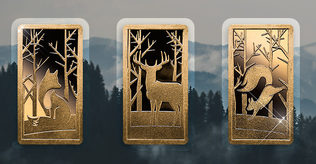 3 x 1 Gramm Goldbarren - Heimische Waldtiere