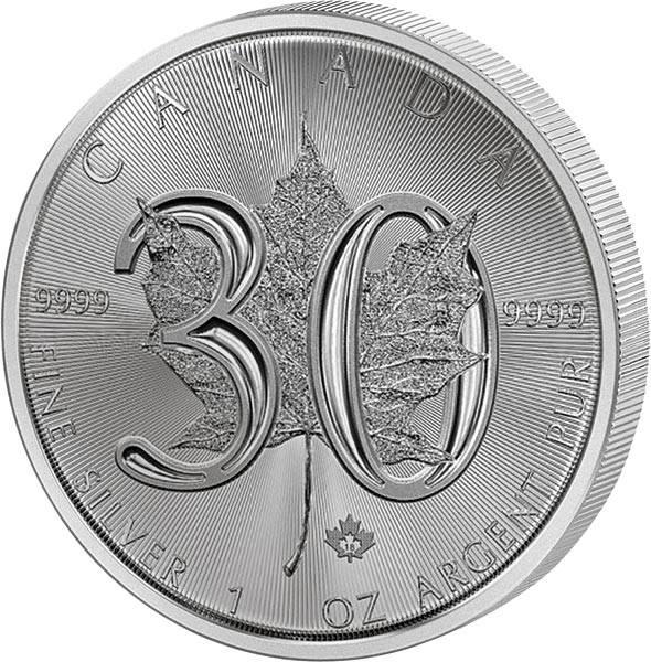 1 Unze Silber Kanada Maple Leaf 30. Jahrestag 2018