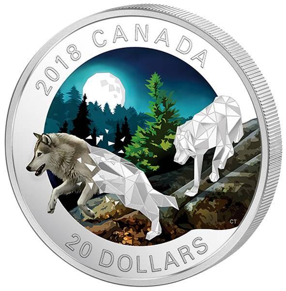 20 Dollars Kanada Geometrische Fauna Grauwölfe 2018