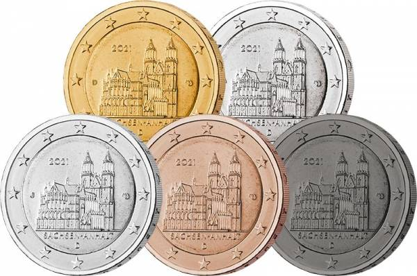 5 x 2 Euro BRD Deluxe Edition Sachsen-Anhalt - Magdeburger Dom 2021