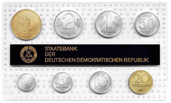 1 Pf-2 Mk (8 Werte) DDR Kursmünzensatz inkl. Gedenkprägung Schmieden 1987 prägefrisch