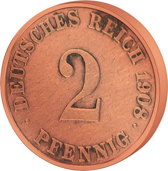 2 Pfennig Deutsches Kaiserreich kleiner Adler 1873-1877 s-ss