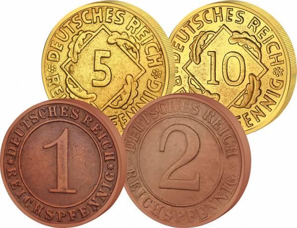 1-10 Reichspfennige im Set 1923-1924 Sehr schön