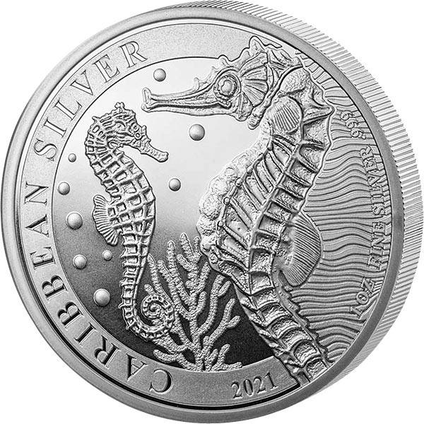 1 Unze Silber Barbados Seepferd 2021