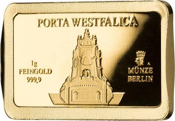 1 Gramm Goldbarren Deutsche Wahrzeichen Porta Westfalica