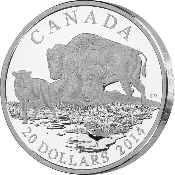 20 Dollars Kanada Bison Familie 2014