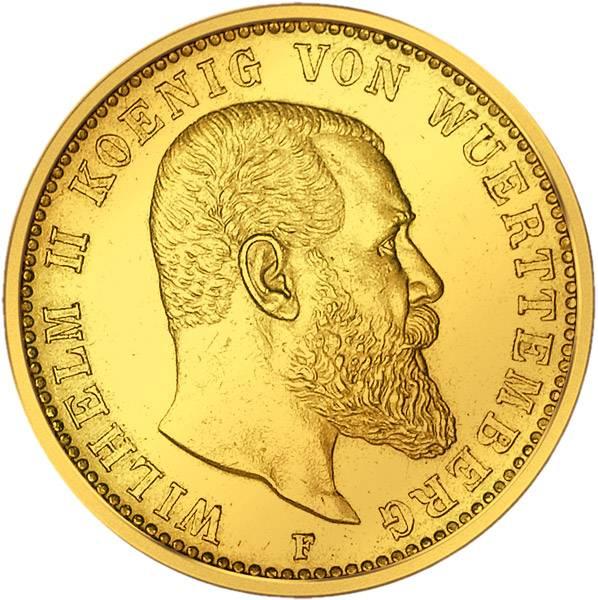 20 Mark Württemberg Wilhelm II. 1894-1914 Sehr schön