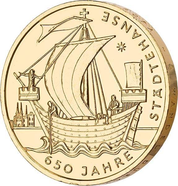 10 Euro BRD 650 Jahre Städtehanse 2006 vollvergoldet