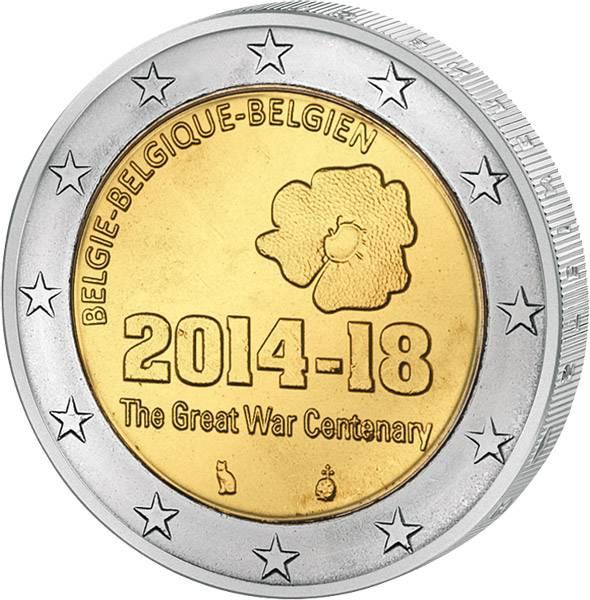 2 Euro Belgien 100 Jahre Erster Weltkrieg 2014 prägefrisch