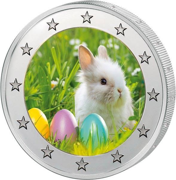 2 Euro BRD mit Farb-Applikation Ostern 2020