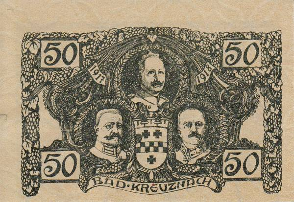 50 Pfennige Bad Kreuznach Deutsches Kriegs-Notgeld 1917-1918 bankfrisch