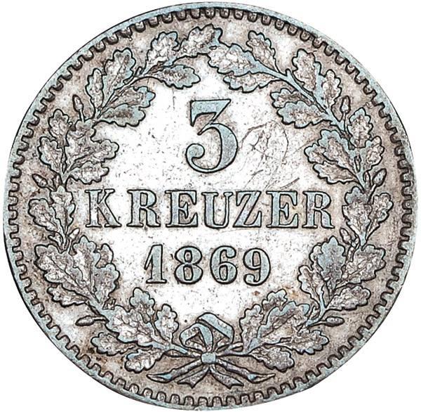 3 Kreuzer Baden Großherzog Friedrich I. mit Wappen
