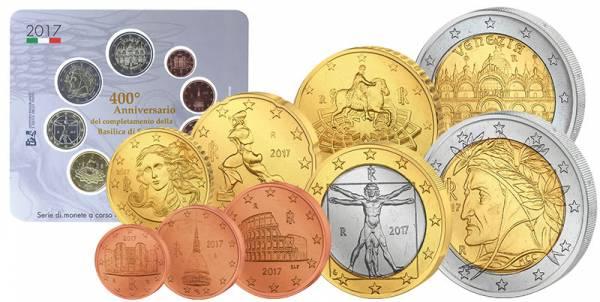 Euro-Kursmünzensatz Italien 2017 + 2 Euro Markusdom 2017