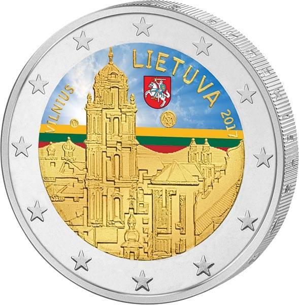 2 Euro Litauen Vilnius Stadt der Kultur und Kunst 2017 mit Farb-Applikation
