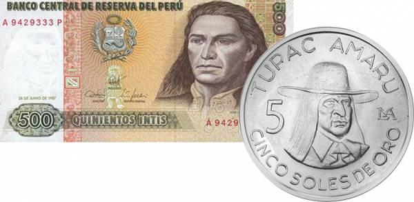 5 Soles und 500 Intis Peru Tupac Amaru 1975-1977, 1987 vz-st