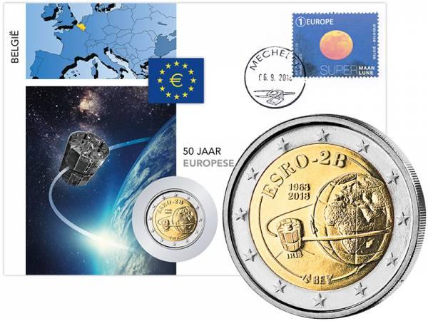 2 Euro Numisbrief Belgien 50 Jahre Europäischer Satellit 2018
