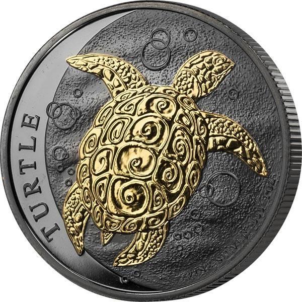 1 Unze Silber Niue Meeresschildkröte 2019 Golden Enigma Edition