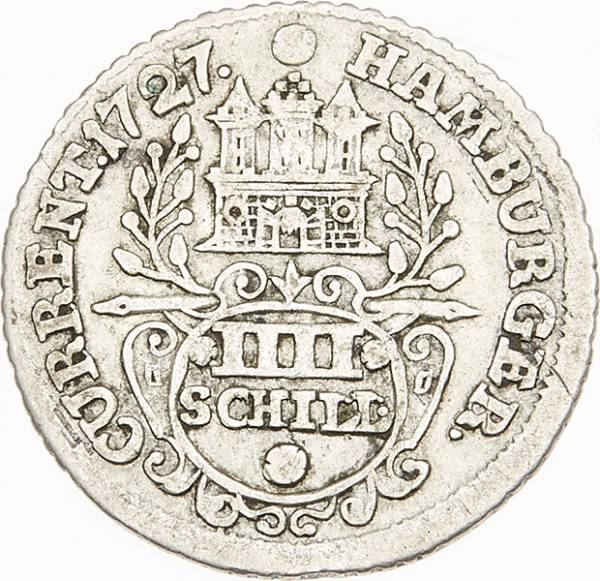 4 Schilling Freie und Hansestadt Hamburg 1725-1728