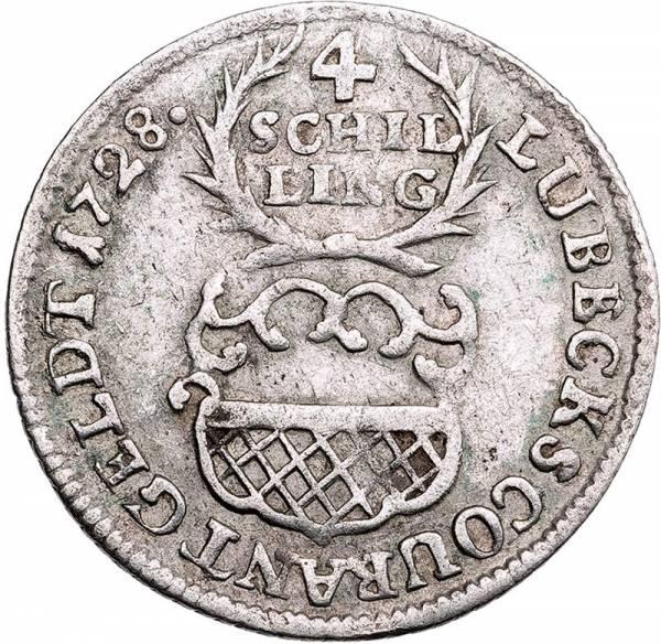 4 Schilling Lübeck Freie und Hansestadt 1727-1729