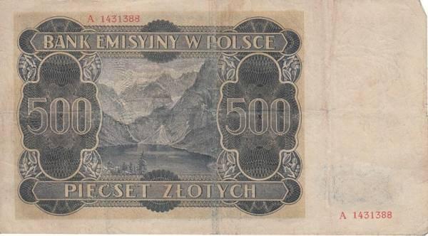 500 Zloty Polen Banknote Deutsche Besatzung 1940