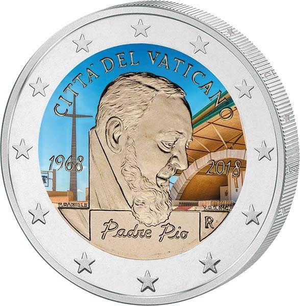 2 Euro Vatikan 50. Todestag Padre Pio 2018 mit Farb-Applikation