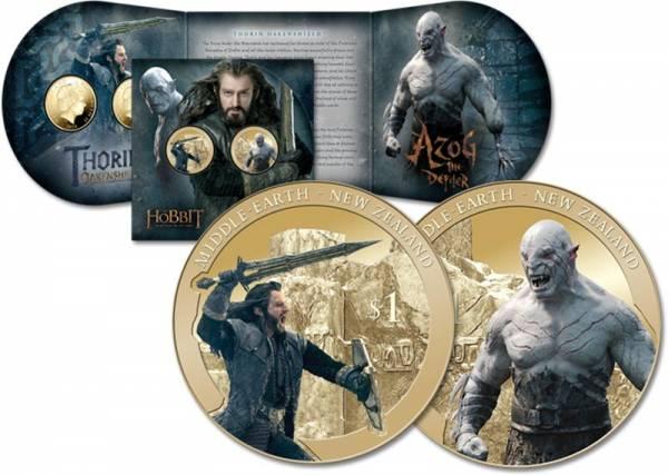 2 x 1 Dollar Neuseeland Der Hobbit - Die Schlacht der fünf Armeen - Azog und Thorin 2014