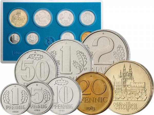 1 Pfennig - 5 Mark DDR - Kursmünzensatz 1983