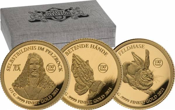 3 x 3.000 Francs Tschad 550. Geburtstag Albrecht Dürer 2021