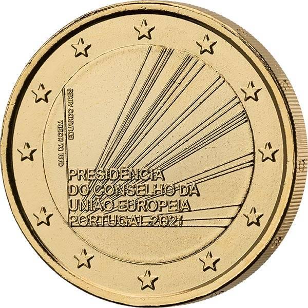 2 Euro Portugal EU-Ratspräsidentschaft 2021 vollvergoldet