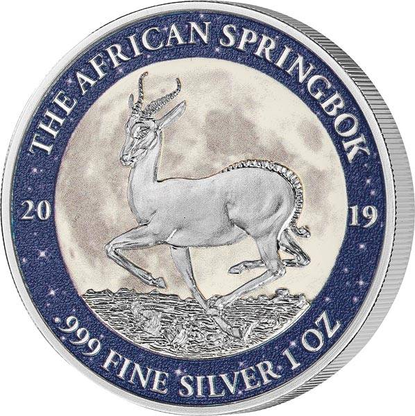 1 Unze Silber Gabun Springbock 2019 mit Farb-Applikation