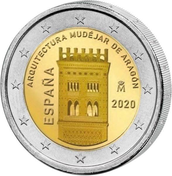 2 Euro Spanien UNESCO-Weltkulturerbe Mudéjar Architektur in Aragón 2020