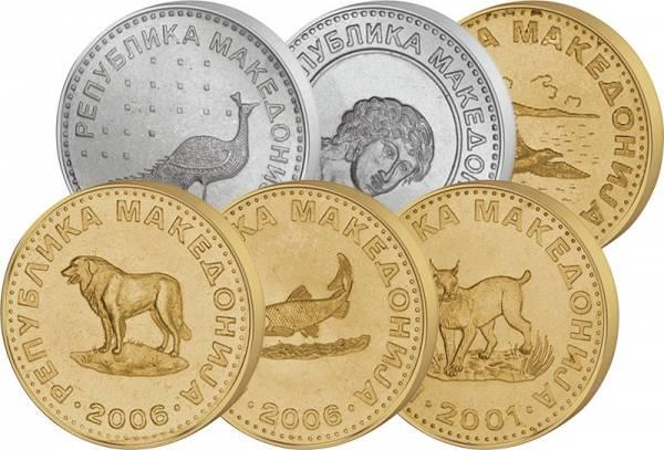 1 Denar - 50 Denari + 50 Deni Kursmünzen Mazedonien 1993-2018